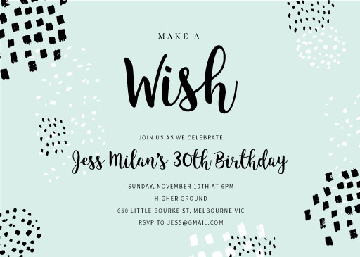 Painted brush - Birthday Invitations