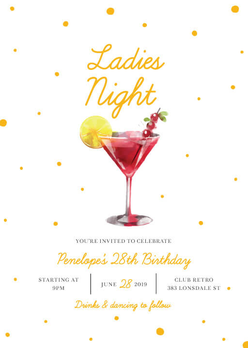 Ladies Night - Birthday Invitations