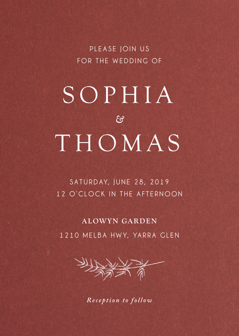 Winter Fire | White Ink | Wedding Invitations