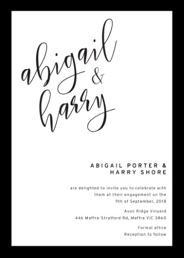 Sleek border - Engagement Invitations