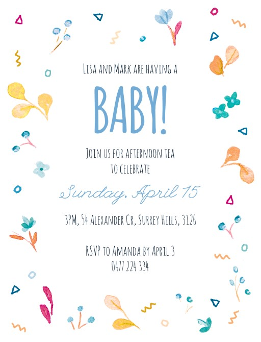 Spring buds - Baby Shower Invitations