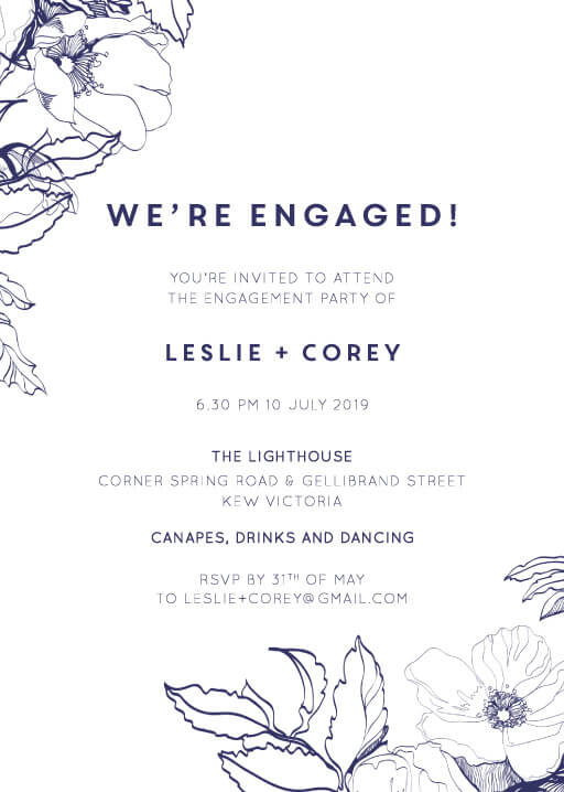 Blue Contour - Engagement Invitations