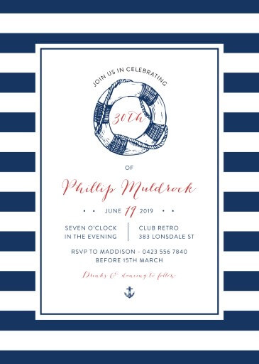 Navy Nautical - Birthday Invitations
