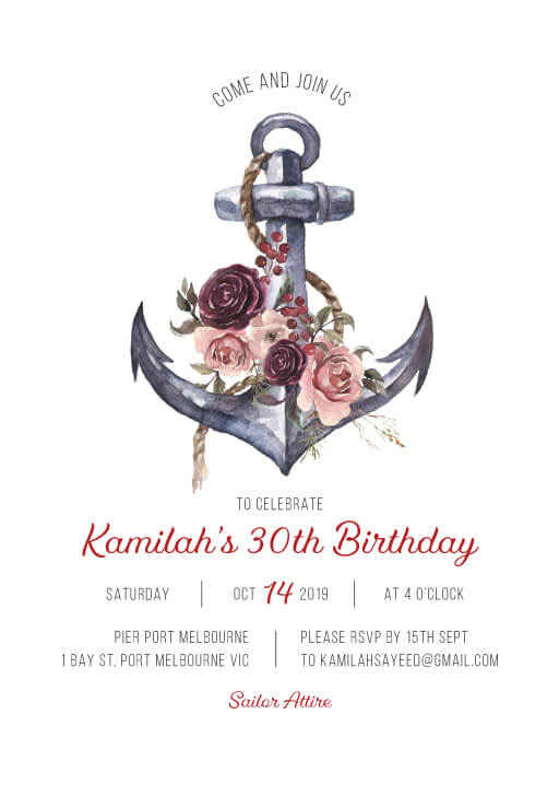 Flower Anchor - Birthday Invitations