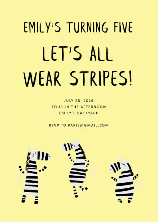 Cheerful Zebra - Birthday Invitations