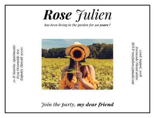 Sunflower Attack - Birthday Invitations