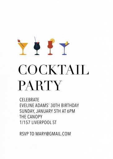 Happy Cocktail - Birthday Invitations
