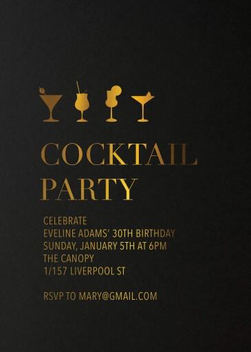 Happy Cocktail - Birthday Invitations