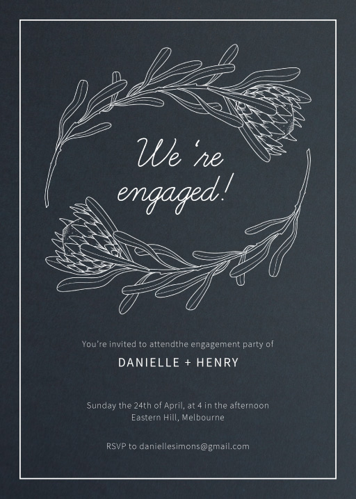 Playful Proteas - Engagement Invitations
