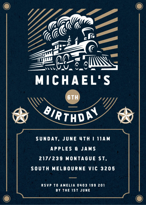 Birthday Train - Birthday Invitations