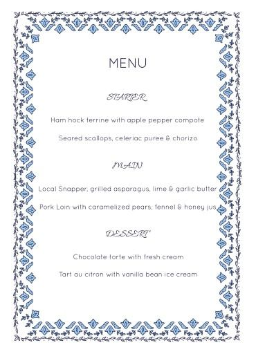 Decorative Lace - Menu Card