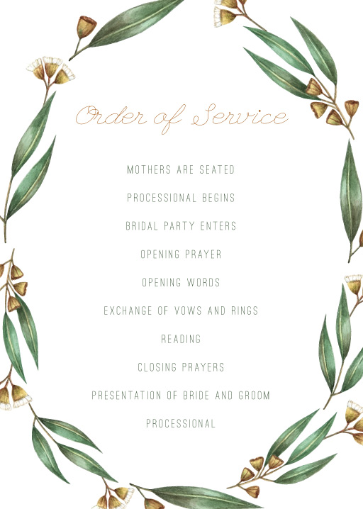 Under the Eucalyptus - Order of Service