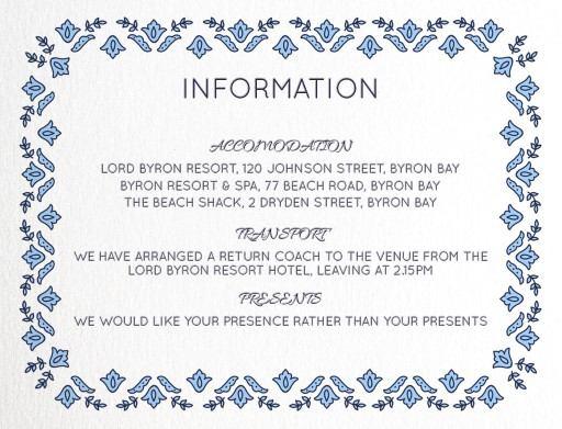 Decorative Lace - Information Card
