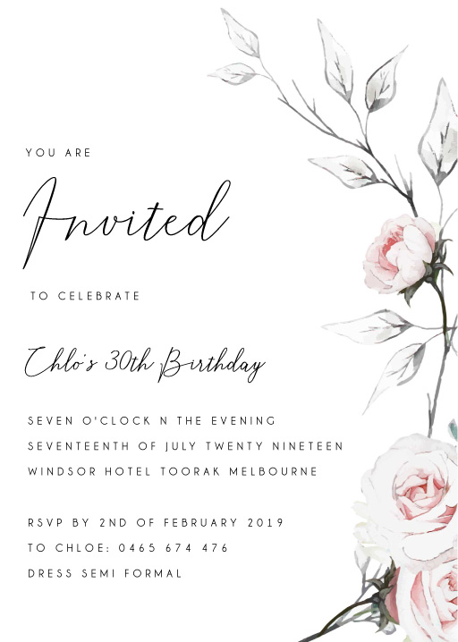 Florescence - Birthday Invitations
