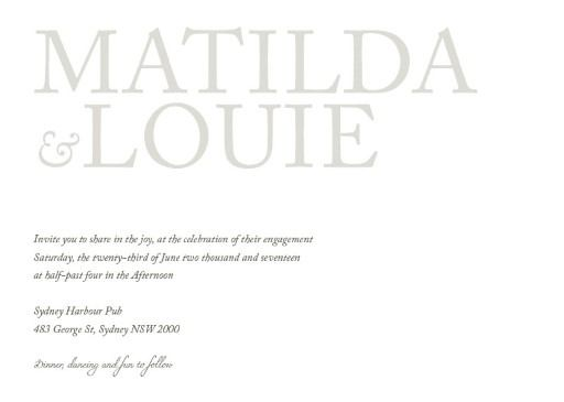 Typography - Engagement Invitations