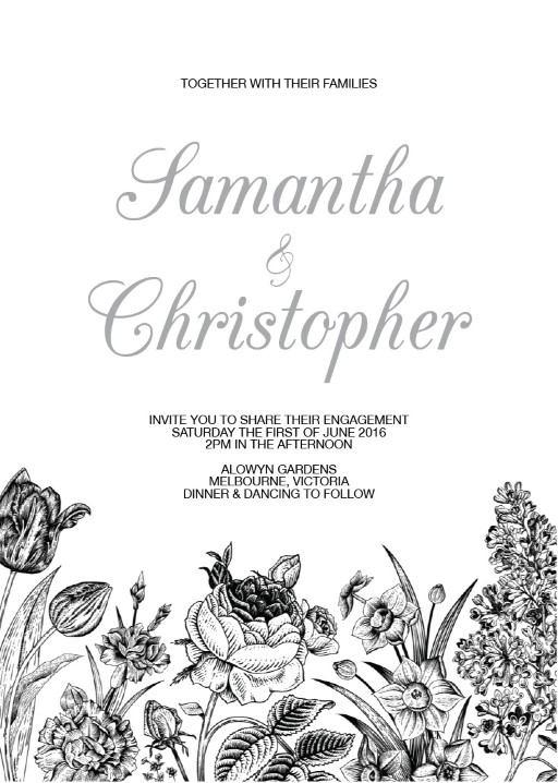 Monochrome Floral - Invitations
