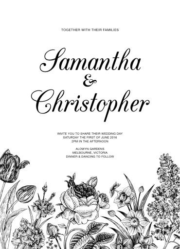 Monochrome Floral - Invitations