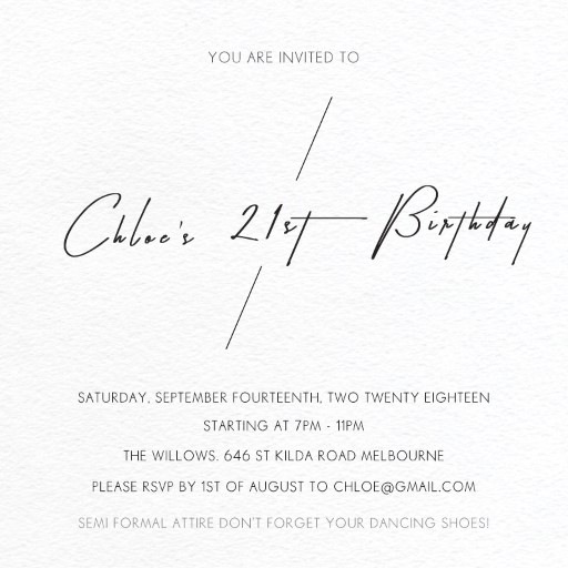 Elegant Birthday Invitation Cards Party