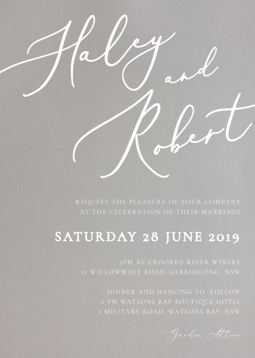 Rose et Gris - Wedding Invitations