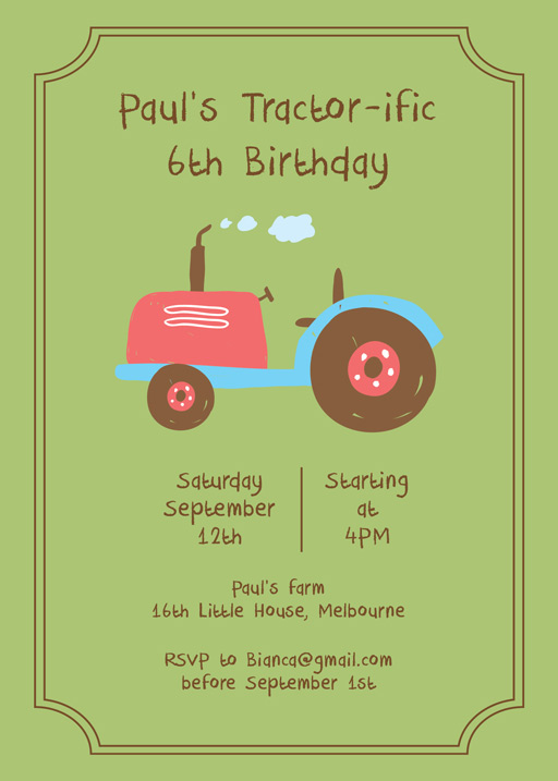 Tractorific - Birthday Invitations