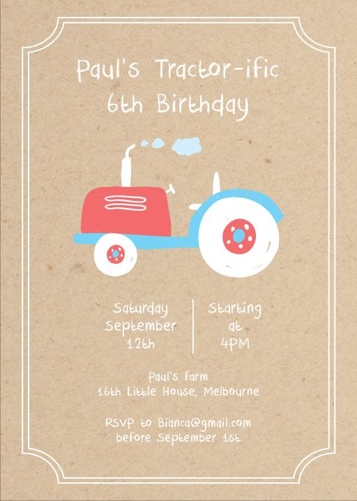 Tractorific - Birthday Invitations
