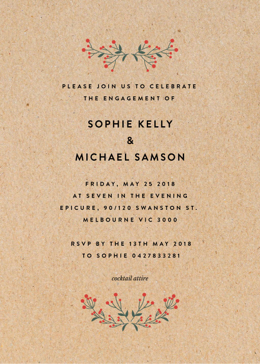 Berry lovely wedding - Engagement Invitations
