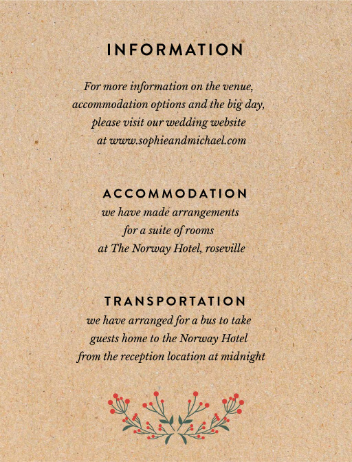 Berry lovely wedding - Information Cards