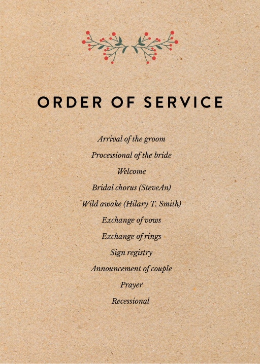 Berry lovely wedding - Order of Service
