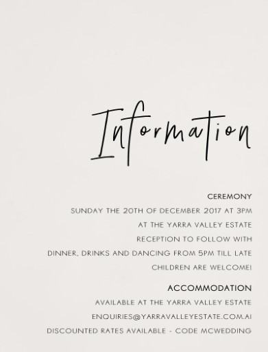 Wedding Information Card Examples Kalde Bwong Co
