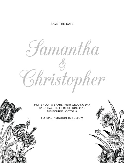 Monochrome Floral - Save The Date