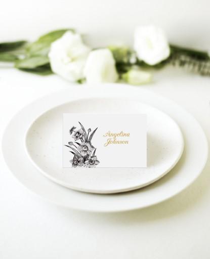 Monochrome Floral - Place Card