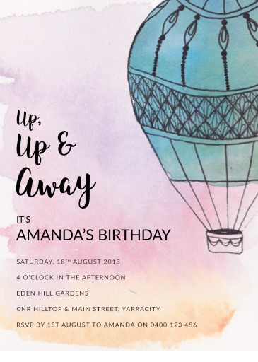 Up Up & Away - Birthday Invitations