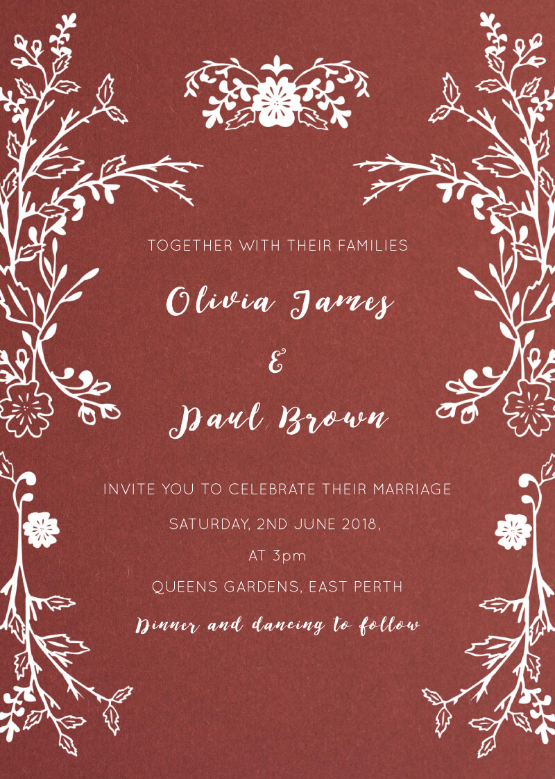 Autumn Romance | White Ink | Wedding Invitations