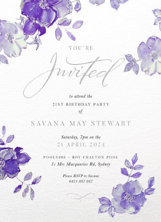 British Floral - Birthday Invitations