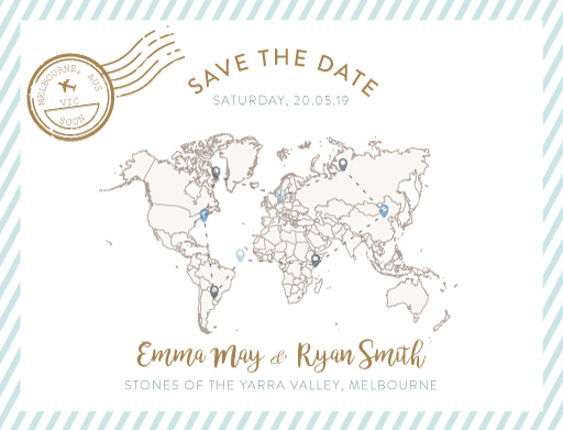 Lets Travel Together - Boarding Pass Save The Date