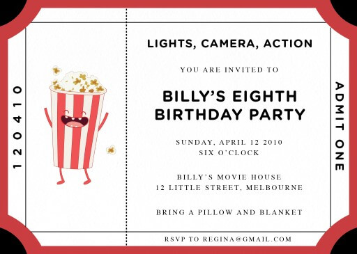 Movie time - Birthday Invitations