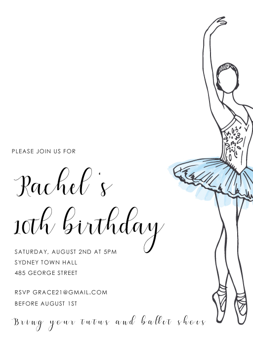 Tutu Party - Gymnastics Birthday Invitations