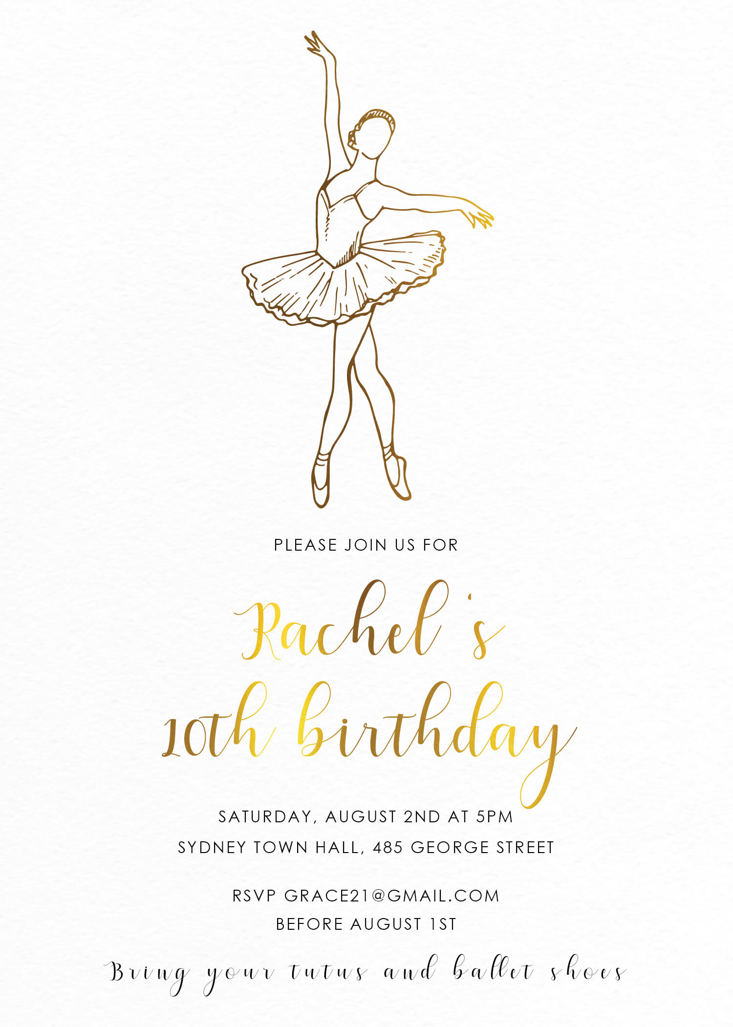 Tutu Party | Metallic | Birthday Invitations