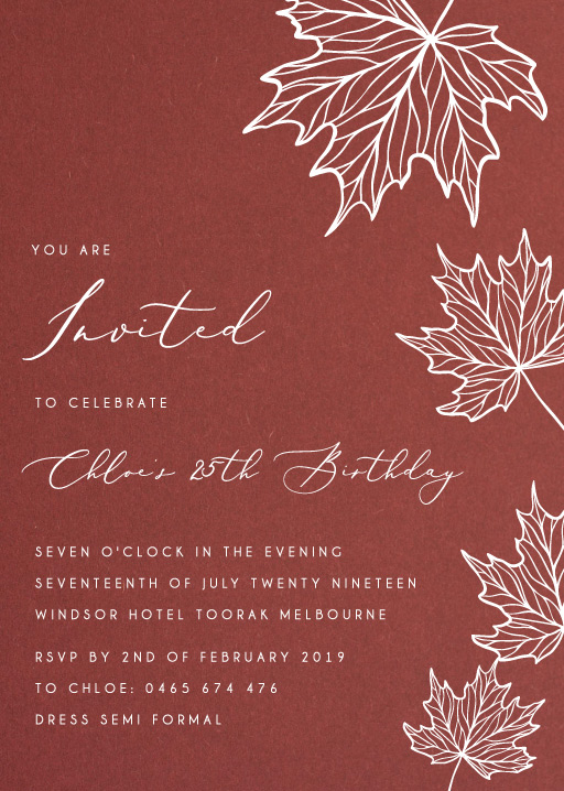 Autumn Birthday - Birthday Invitations