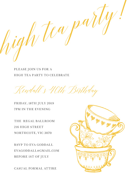 Tea Party - Birthday Invitations