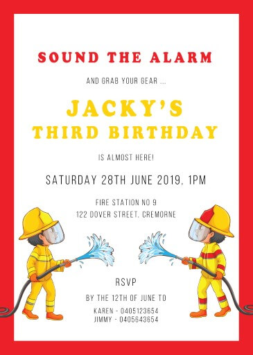 Fun and Flames - Birthday Invitations