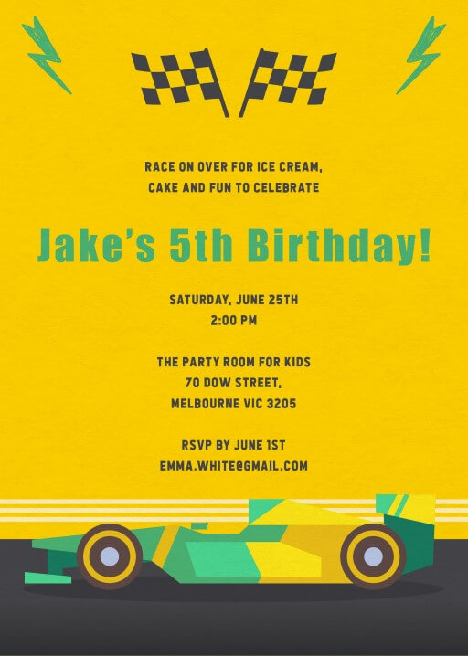 Racer X - Birthday Invitations