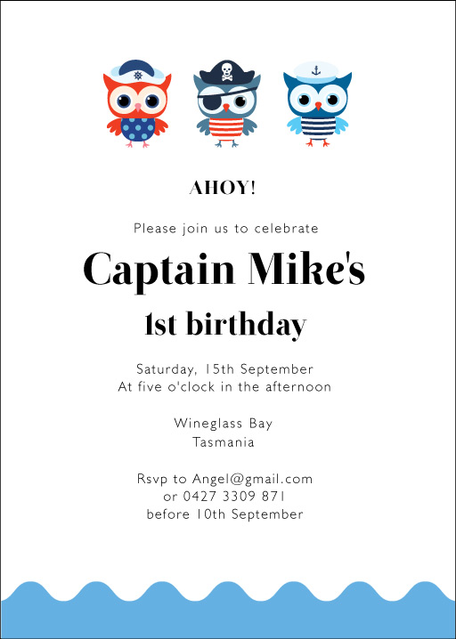 Pirates Owl - Birthday Invitations