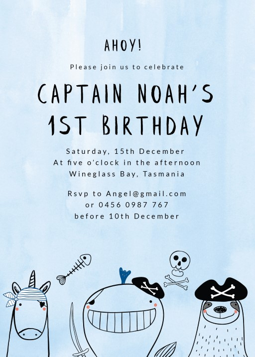 Pirates Cartoon - Birthday Invitations