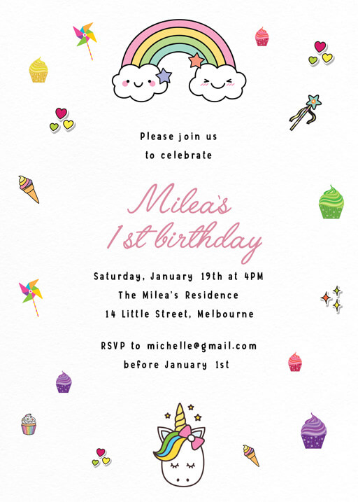 Sweet Rainbow Invitation - Birthday Invitations