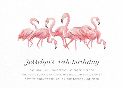 Pink Flamingo - Birthday Invitations
