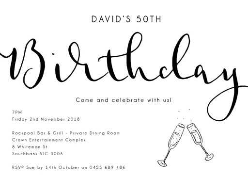 50th birthday invitations designs by creatives printed by paperlust