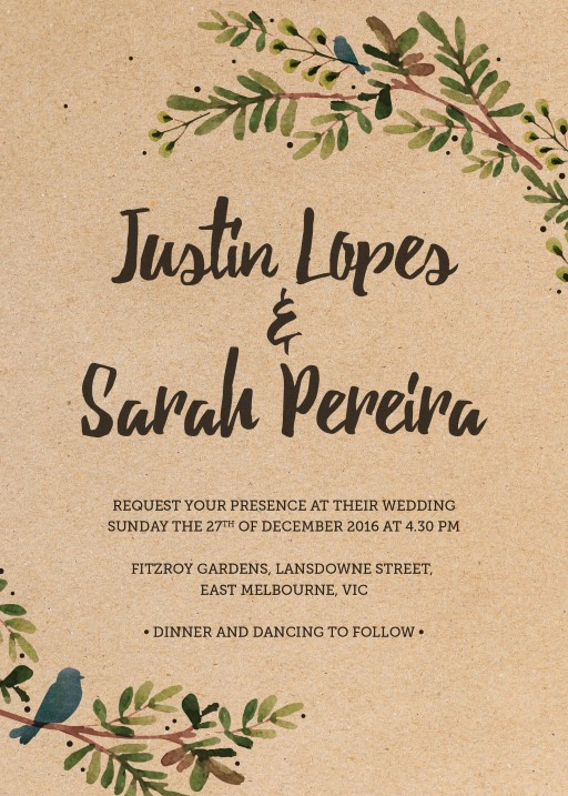 rustic garden digital printing wedding invitations