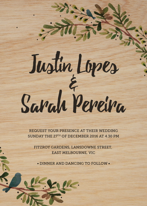 Print on wood wedding invitations designs by creatives printed rustic garden invitations stopboris Gallery