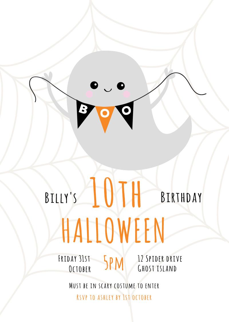 boo digital printing kids halloween invitations